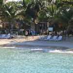 View looking back at the beach in front of West Bay Village, Roatan