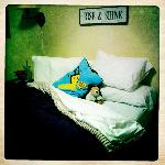 A VERY comfortable Bed & pillows (with my son's own pillow and stuffed animal)