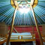 Inside the yurt