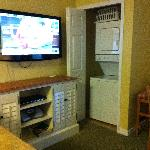 television and own washer and dryer in room. It is loud