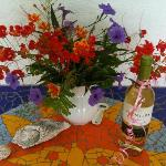 Garden flowers, seashells and wine. Life is good. :)