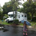Our big lovely motorhome easily fit on the spacious powered sites at Maroochy Palms Big 4