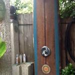 the outdoor shower with amazing water pressure and organic shampoo!