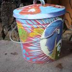 funky garbage can....a great example of the tiny treasures Simon has around The Surfboard House