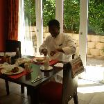 Proof that the breakfasts are good!  The chef, Naphtal eating his own food