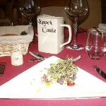 the food and crockery with Knock castle name!