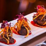 Woodfire Beef Tenderloin Bites with red pepper coulis
