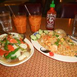 Pineapple fried rice and seafood medley