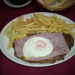 Steak with ham and egg
