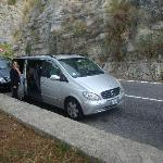 Our van along the Amalfi Coast on our Naples day.