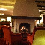 roaring fire in the bar