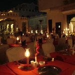 Rooftop night dining at Udai Kothi