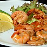 Prawns with a fresh lemon dressing