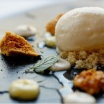 Creme fraiche sorbet with honeycomb