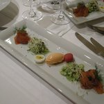 Starter with lox and tomato ice cream