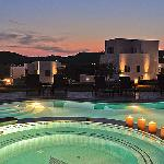 Night view of Santa Maria Luxury Suites and pool area