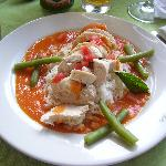 My lunch...chicken stuffed with feta and tomato sauce