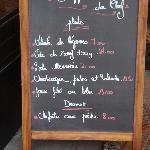 """The """"Ardoise"""" showing Daily Specials, Le Vin Coeur"""