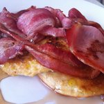 Yummy Corn Fritters, Bacon and Maple Syrup