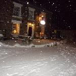 Outside the pub/ B&B in the snow.