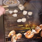 Huge shrimps & clams on the grill