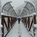 Crossing the bridge to the ski trails