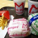 mushroom burger and royal burger with fries and drinks (gulaman and pepsi)