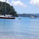'Phantom' moored in  Two Lagoon Bay for lunch