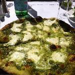 Pesto pizza.