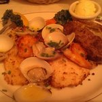Cod topped with Clams & Shrimp