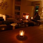 The log fire lounge at night