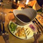 The black bean soup and garnishes were superb