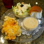 Chicken Salad Pie, Caesar Salad, Lobster Bisque & a Roll