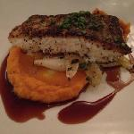 Roasted cod over leeks and mushrooms with sweet potato purée