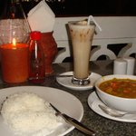 Vegetable curry with basmati rice and the date shake