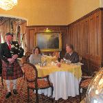 Playing the pipes in the George V Room