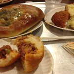 Arancini- rice ball, calzone, pizza, and other yummy Italian specialties at Umberto's.