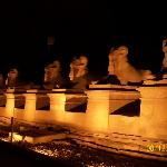 sphinxes at the entrance of the temples in the show