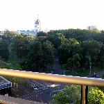 View from balcony overlooking Carlton Gardens and the Exhibition Building