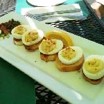 Deviled egg appetizer on the patio