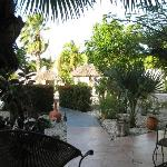 The courtyard at Club Arias, a super relaxing place to sit at the pool