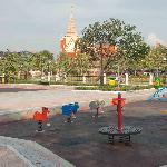The playground with Cambodia's Supreme Court in the background
