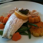 My seabass with sweet potato and sugar snap peas for mains