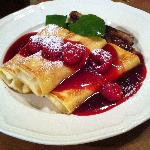 Peach Melba Crepes