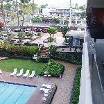 view of the front pool & Harley Davidson