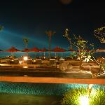 view from the restaurant at night