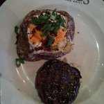 Bacon wrapped filet & fully loaded potato.
