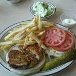 Marinated chicken breast sandwich with lettuce and tomatoes and mayo on the side; french fries;