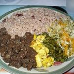 What I ate: peas & rice, ackee, cabbage and veggie (soy) chunks