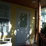 Front door and porch to Chalet D'Amour cottage